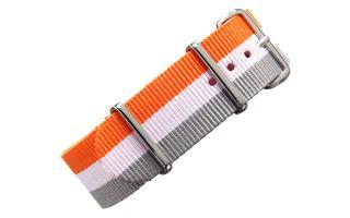 Orange/White/Grey NATO - 22mm