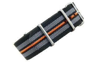 Black/Grey/Orange NATO - 22mm