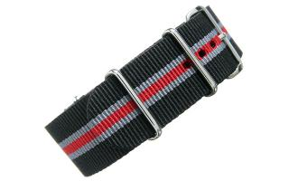 Black/Grey/Red NATO - 24mm