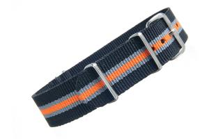 Black/Grey/Orange Thin Stripe NATO - 18mm