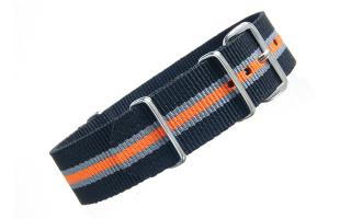 Black/Grey/Orange Thin Stripe NATO - 20mm