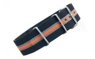 Black/Grey/Orange Thin Stripe NATO - 22mm