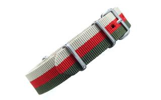 Sand/Red/Olive Striped NATO - 18mm