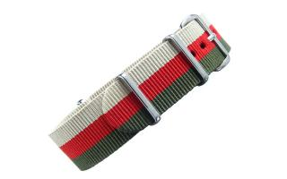 Sand/Red/Olive Striped NATO - 20mm