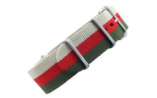 Sand/Red/Olive Striped NATO - 22mm