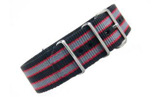 Black/Red/Grey NATO - 22mm