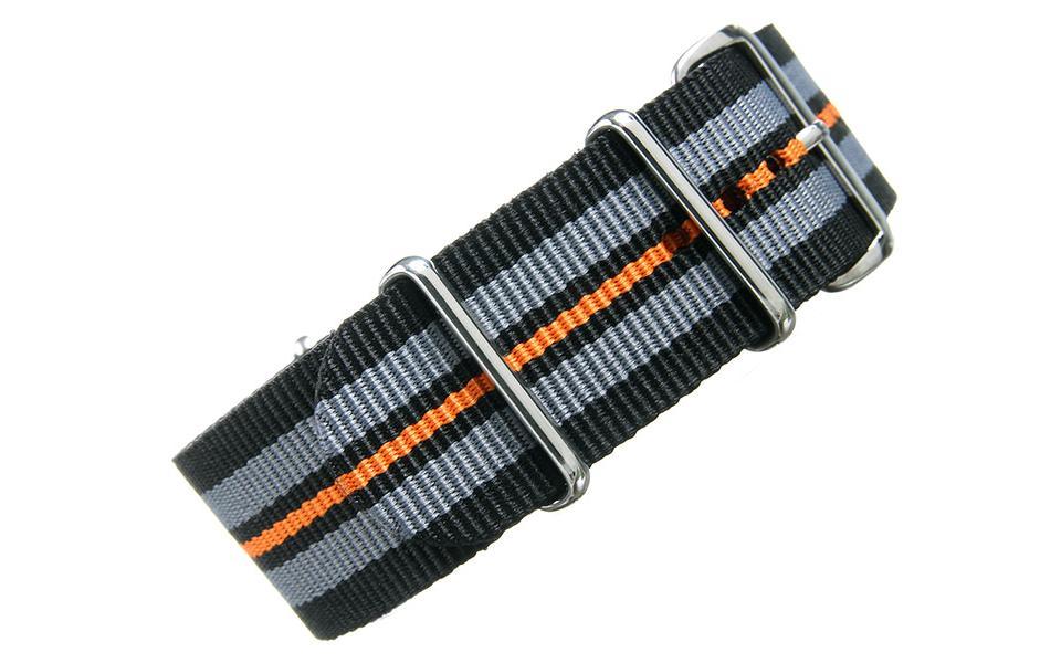 Black/Grey/Orange NATO - 24mm