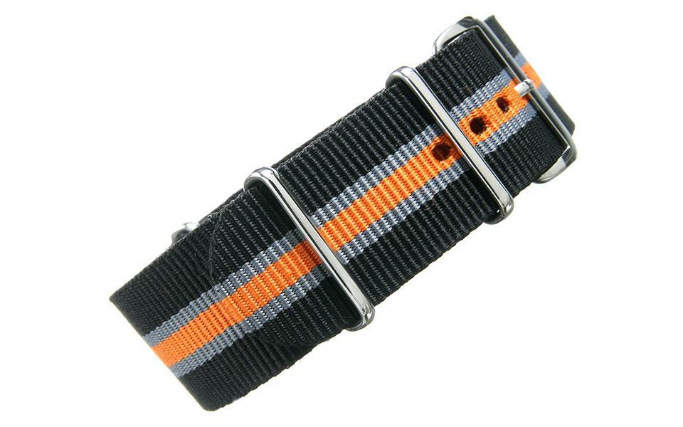 Black/Grey/Orange Thin Stripe NATO - 24mm