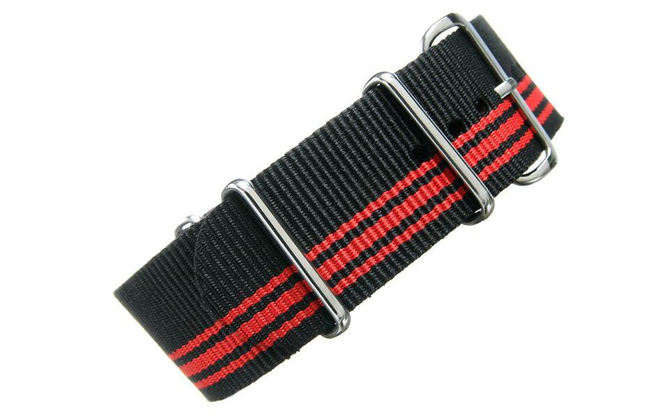 Black & Red NATO - 24mm