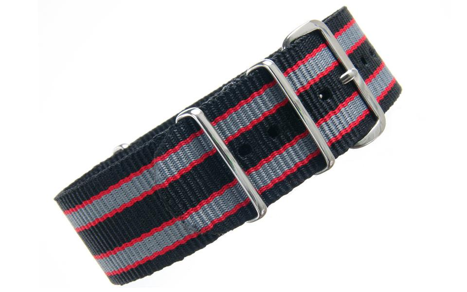 Black/Red/Grey NATO - 24mm